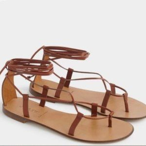 J. Crew Brown Italian Leather Lace-up Sandal 6.5